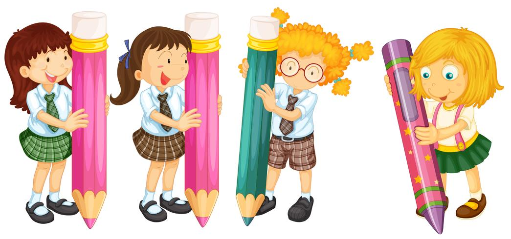 Students and pencils