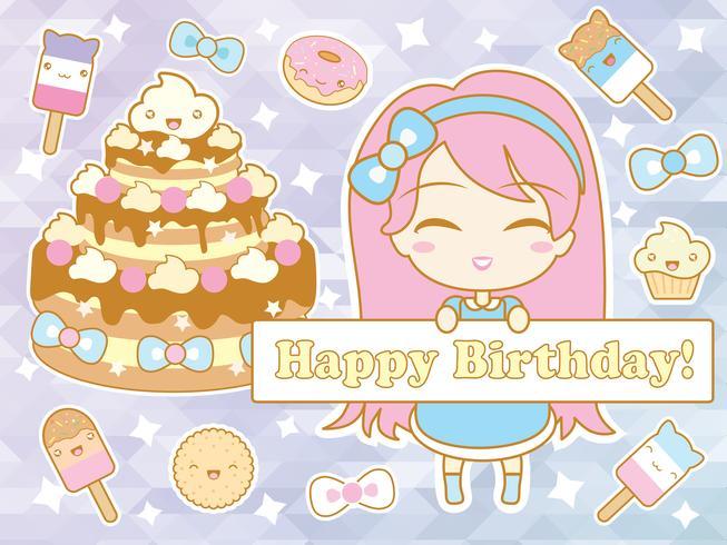 Carte de joyeux anniversaire avec jolie fille chibi de dessin animé souriant