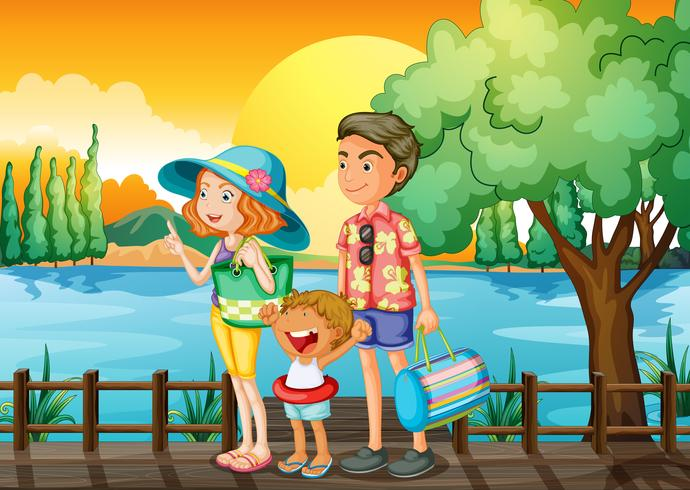 Una famiglia in piedi al porto