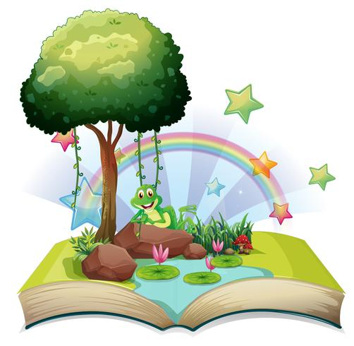 Book with green frog by the pond vector