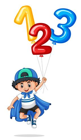 Little boy and balloon numbers one two three