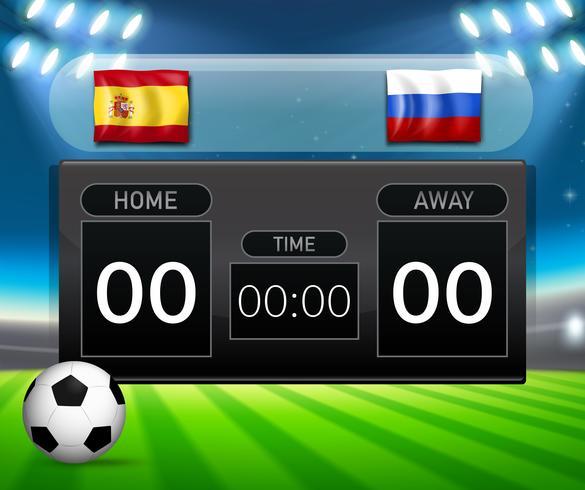 Spagna vs Russia modello di tabellone segnapunti di calcio