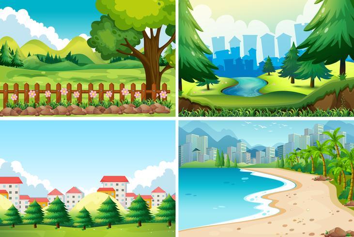 Quattro scene della natura durante il giorno