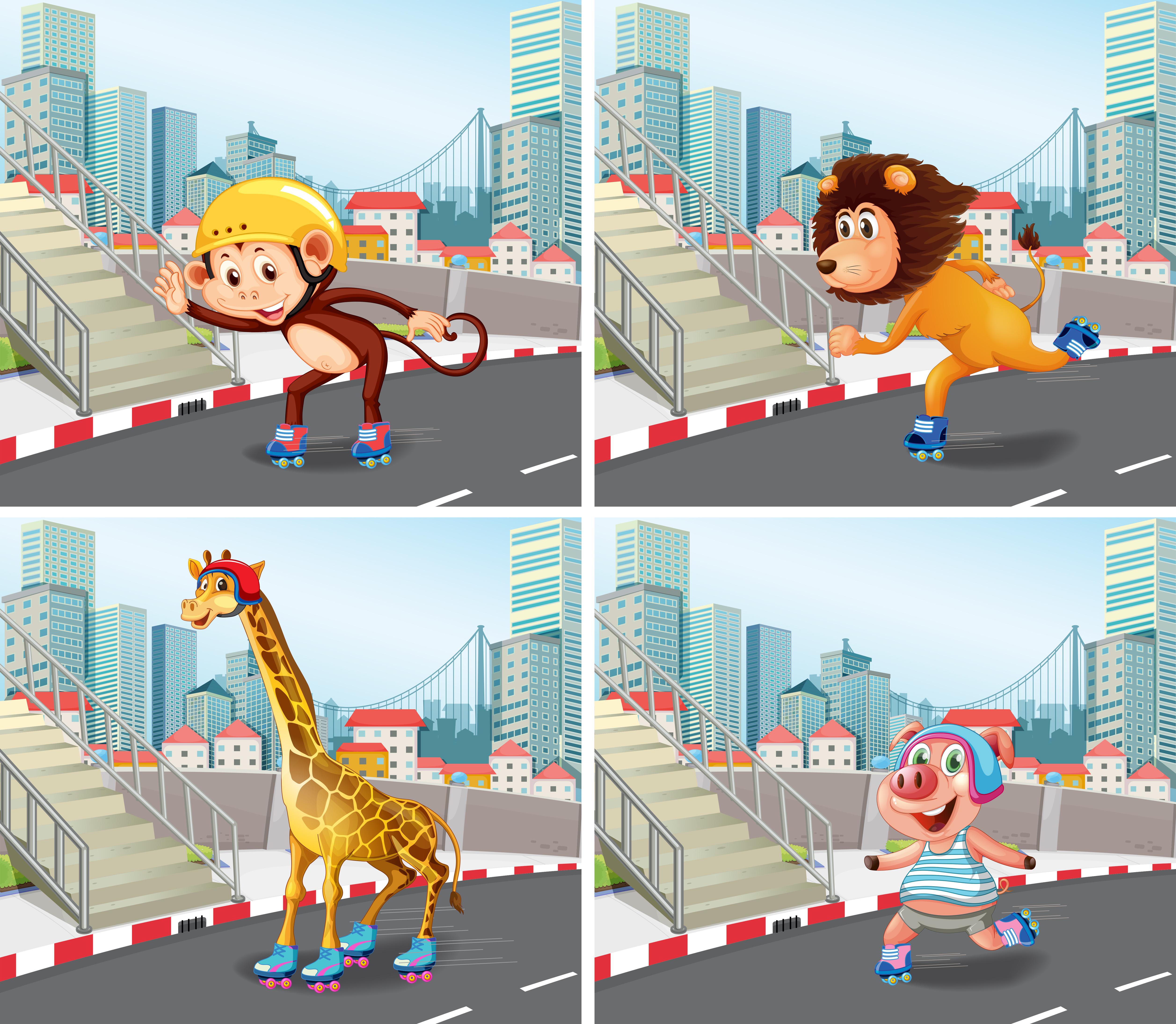 Wild animals roller skate in town Download Free Vectors