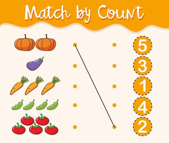 Math-werkbladsjabloon met overeenkomende getallen en groenten