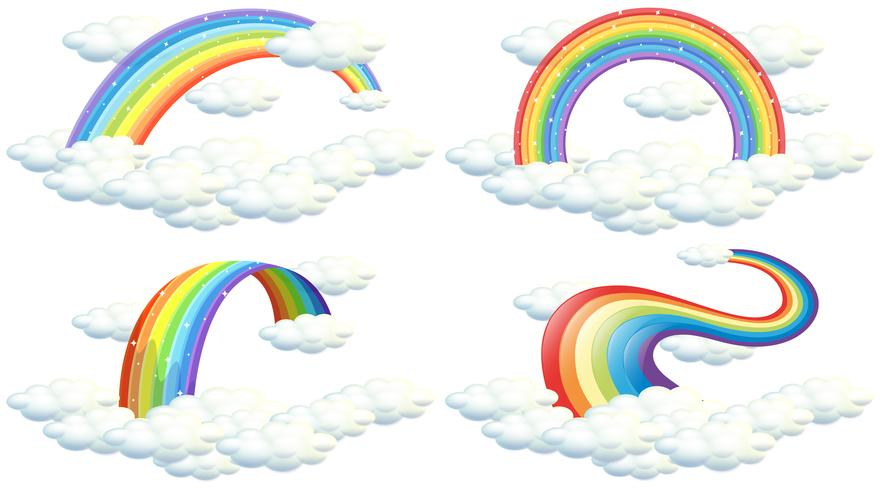 A Set of Rainbow on White Background