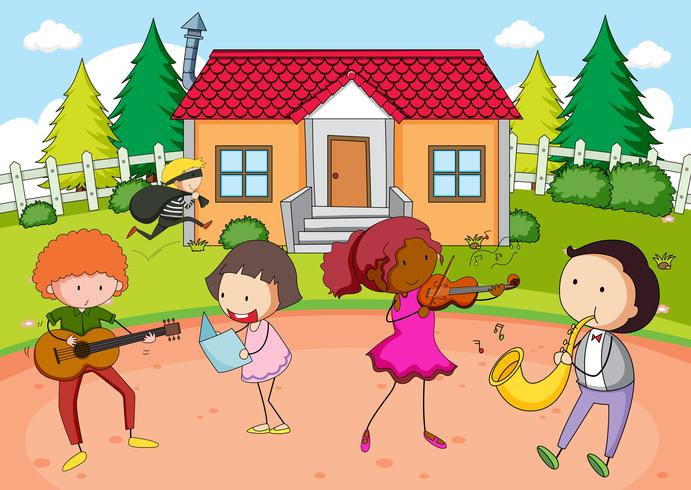 Children playing music infront of house vector