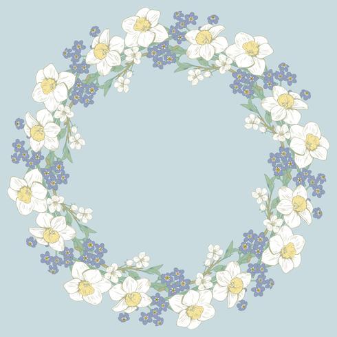 Floral round pattern on blue background. Vector illustration