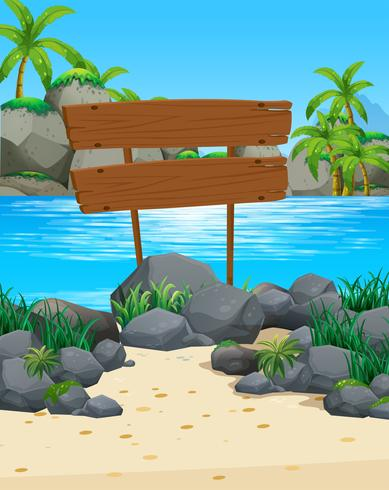 Oceaanscène met houten teken op het strand