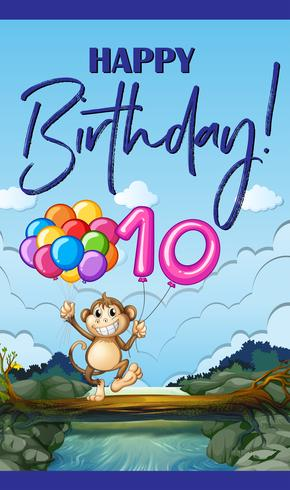 Biglietto d'auguri con scimmia e palloncino numero dieci