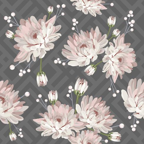 Modelo inconsútil floral con los crisantemos en fondo geométrico gris. Ilustración vectorial