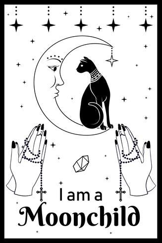 Svart katt på månen. Behandla händer som håller en rosenkrans. Jag är en Moonchild-text