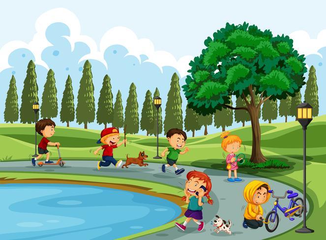 Persone che fanno attività al parco