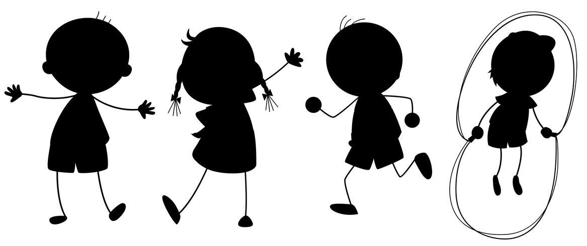 Una serie di bambini di silhouette