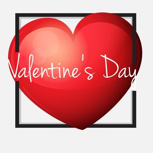 Plantilla de tarjeta de San Valentín con gran corazón rojo