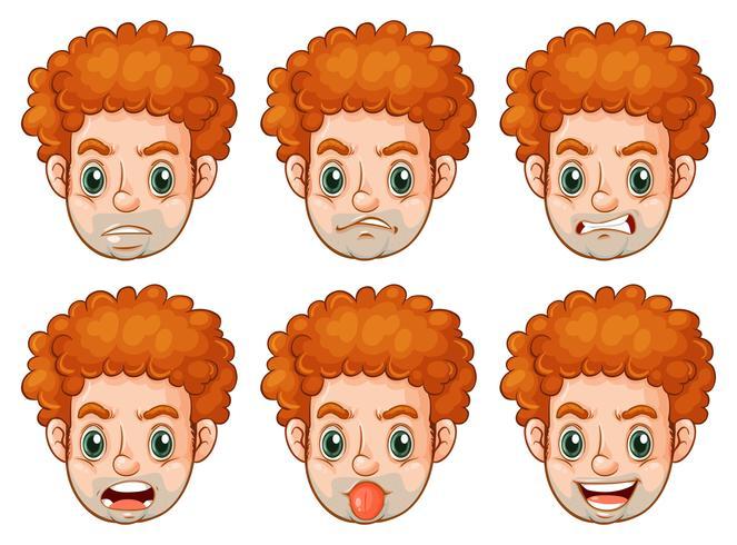 Homem, com, muitos, expressões faciais