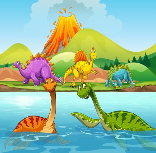 En tecknad av dinosaurier