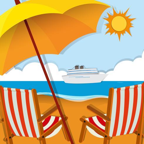 Escena de playa con sillas y sombrilla.