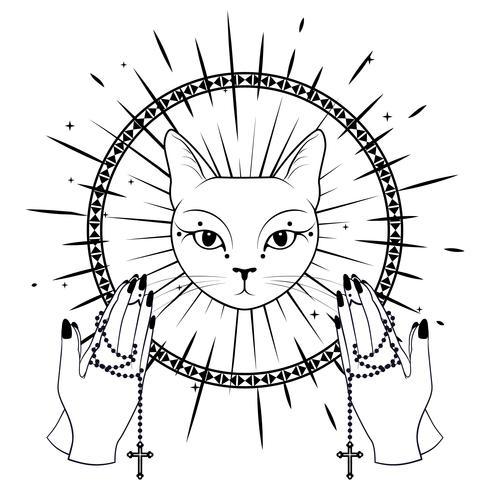 Katt ansikte. Behandla händer som håller en rosenkrans.