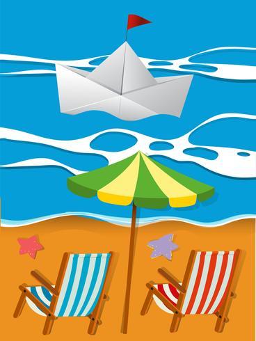 Scen med pappersbåt i havet