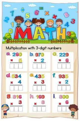 Planilha matemática para multiplicação com números de três dígitos