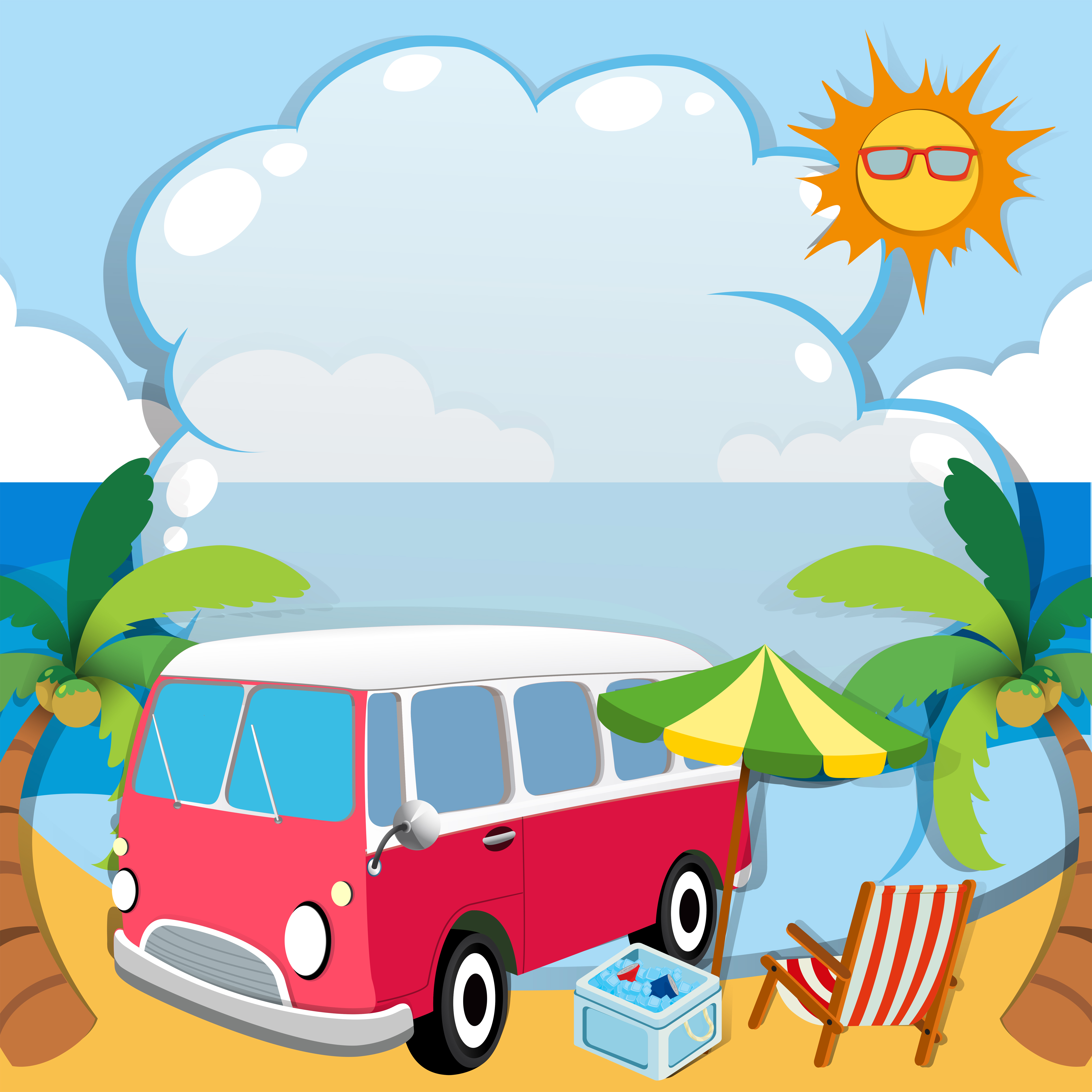 Border design with van on the beach - Download Free ...
