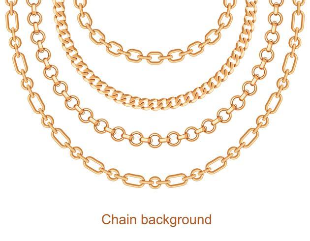 Fundo com colar metálico dourado de correntes. Em branco
