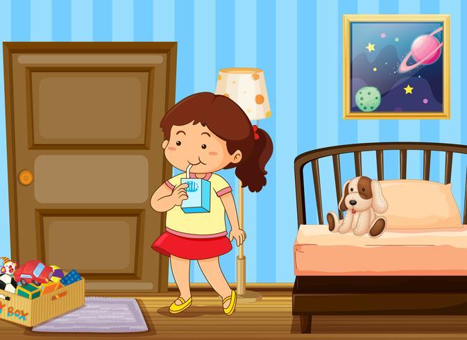 Girl drinking milk in bedroom