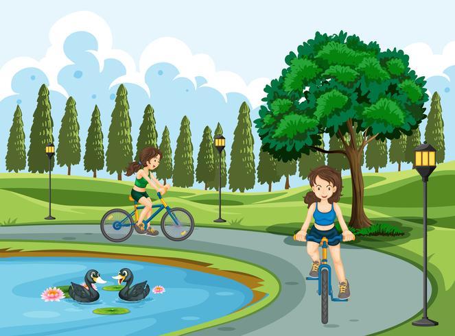 Jeunes filles à vélo