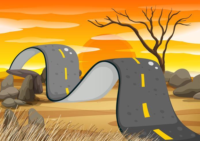 Hobbelige weg in het veld