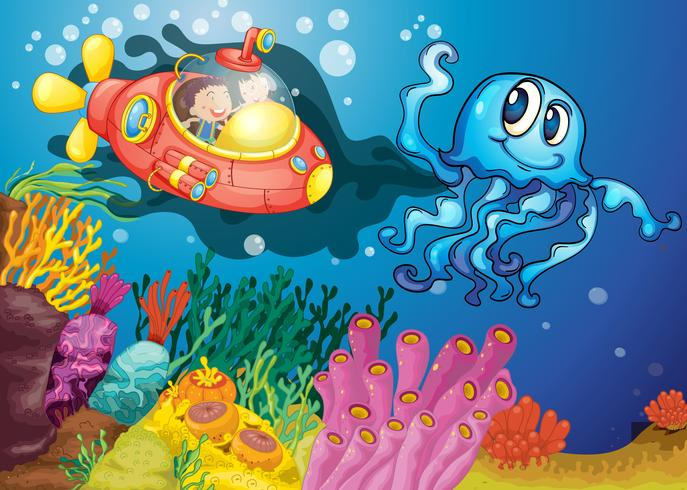 polpo e bambini in sottomarino