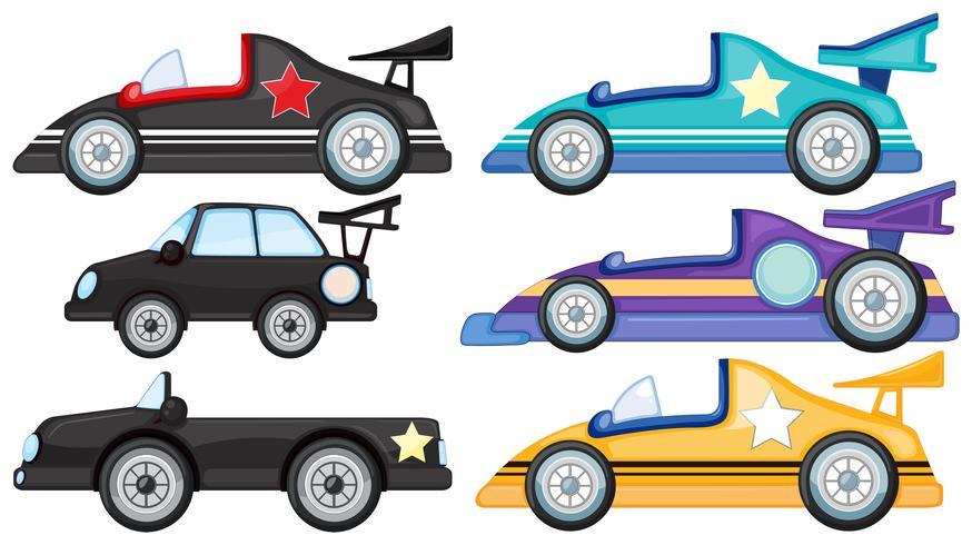 Six styles de voitures miniatures