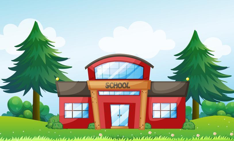 Un edificio scolastico rosso