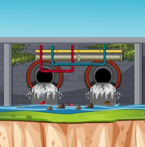 A sewage tunnel scene vector