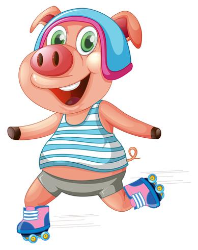 A pig playing roller skating