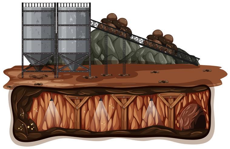 Un vettore di estrazione mineraria su fondo bianco