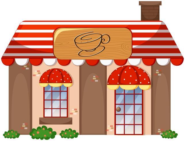Una cafetería en el fondo blanco