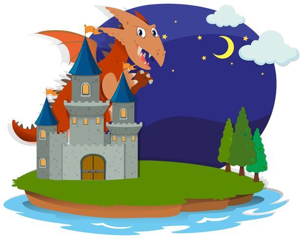 Dragon et château la nuit