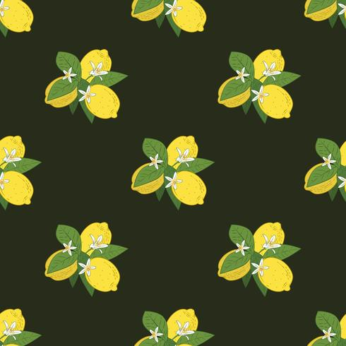 Seamless pattern of branches with lemons, green leaves and flowers on black. Citrus fruits background. Vector illustration