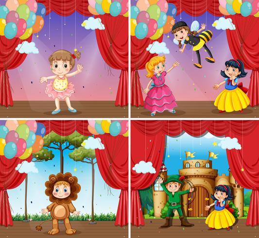 Vier scènes van kinderen die toneelstukken spelen