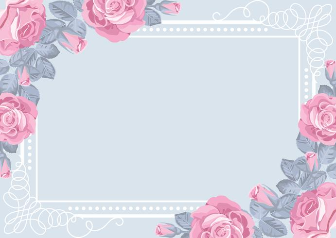 Flora card template with roses and frame.