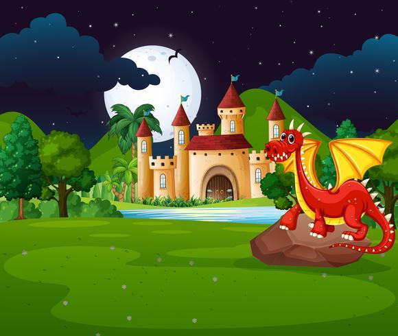 Escena con dragón rojo y castillo