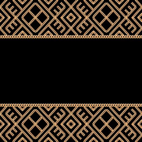 Background with golden chains. Geometrical ornamental borders on black background. Vector illustration