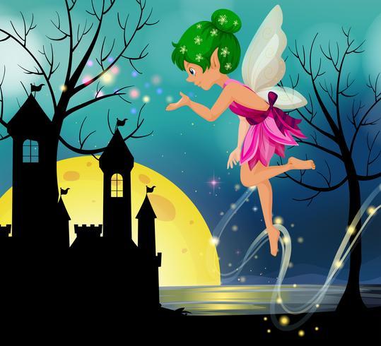 Fée volant autour du château la nuit