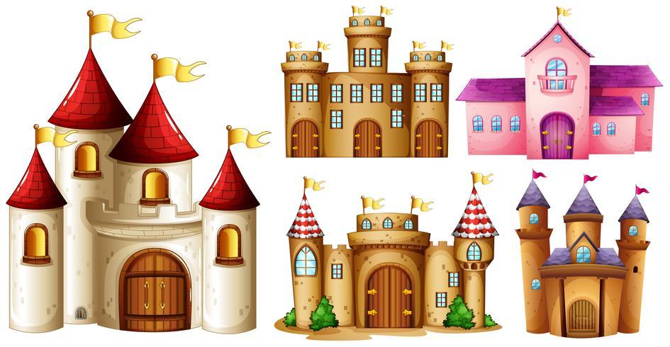 Cinq dessins de tours de château