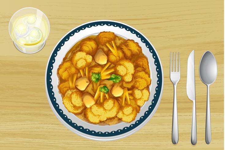 Un cibo in un piatto vettore
