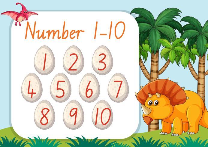 Número de contagem de um a dez tema de dinossauro