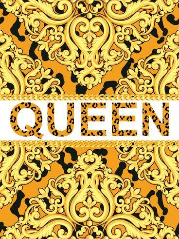 Elemento ornamental amarillo en textura animal leopardo con cadenas y texto reina. Ilustración vectorial