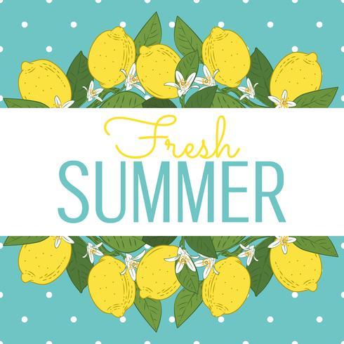 Carte de l'été lumineux d'agrumes tropicaux citron fruits. Affiche avec des citrons, des feuilles vertes et des fleurs sur les pois bleu turquoise. Fond coloré de l'été. vecteur