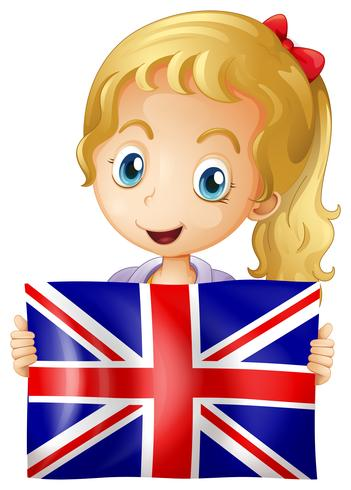 Glad tjej med flagga i Storbritannien